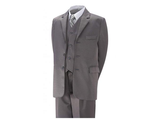 Chlapecký společenský oblek šedý, komplet 5 dílný