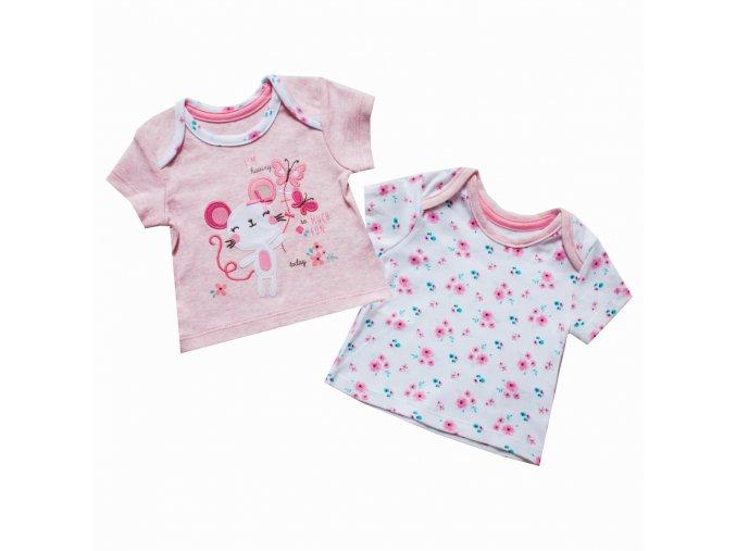 Kojenecké tričko dívčí - sada 2 kusů
