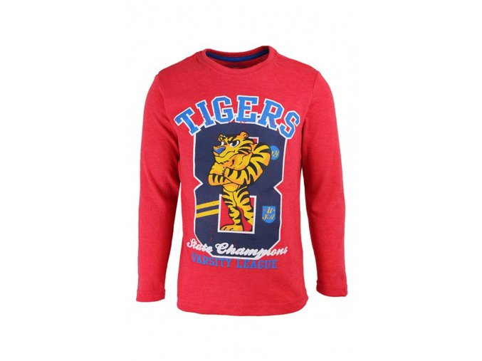 Chlapecké červené tričko s tygrem dlouhý rukáv