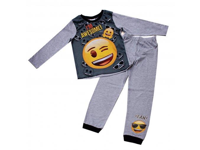 Dětské pyžamo emoji smajlík šedé 6-13 let