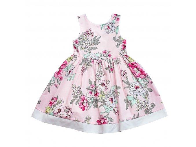 Dětské dívčí šaty s květy růžové