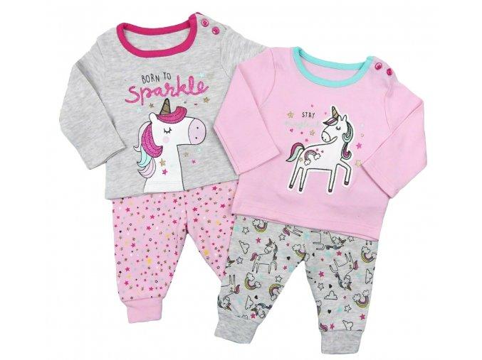 Kojenecké dětské pyžamo s jednorožci 2 kusy