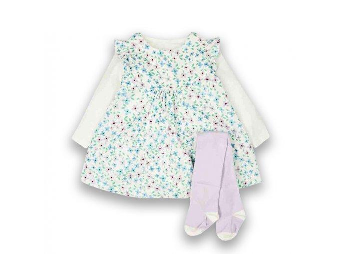 Dívčí kojenecký komplet šaty s květy
