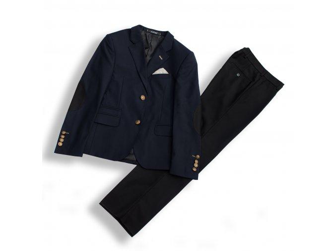 Chlapecký společenský oblek luxusní modro-černý B