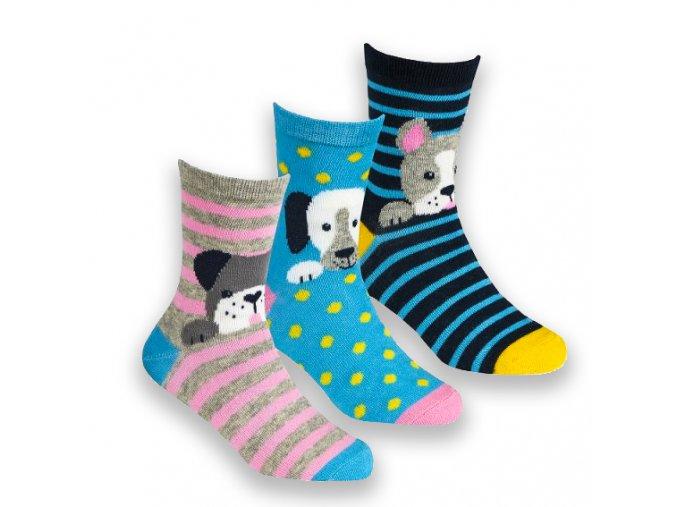 Ponožky dětské dívčí pejsci A (vel 23-30) 3 páry