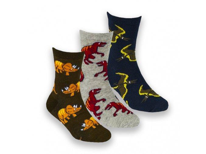 Ponožky dětské chlapecké dinosauři A (vel 23-36) 3 páry