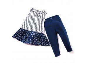 Komplet MINOTI - šaty modrobílé, modré legíny 1-4 roky