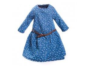 Dívčí modré květované šaty Minoti tunika s koženým páskem 1 - 4 roky