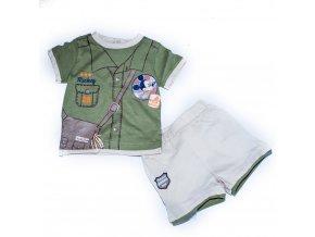Kojenecký letní komplet kraťasy tričko  Mickey Mouse béžovo-zelený 0-2 roky