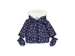 Kojenecká bunda zimní modrá s květy, nepromokavá