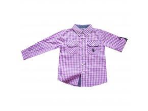 Košile Polo chlapecká, fialovo-bílé kostičky