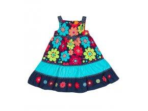 Dívčí šaty s květy, modré