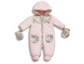 Zimní kojenecká kombinéza růžová s kapsičkami