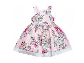 Dětské dívčí šaty růžové s květy