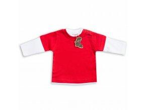 Kojenecké tričko červené dlouhý rukáv 3-6 m