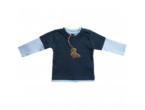 Kojenecké tričko modré dlouhý rukáv 3-6 m