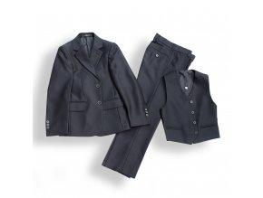 Chlapecký společenský oblek luxusní tmavě šedý 3 dílný