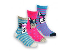 Ponožky dětské dívčí pejsci B (vel 23-30) 3 páry