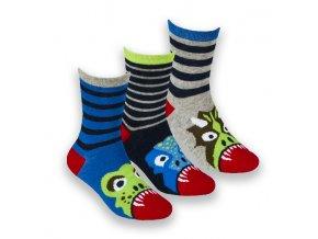 Ponožky dětské chlapecké dinosauři B (vel 23-36) 3 páry