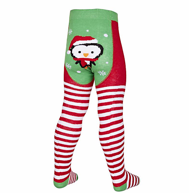 Cotton Rich Punčocháče zeleno-červené vánoční zimní motiv Velikost: 68