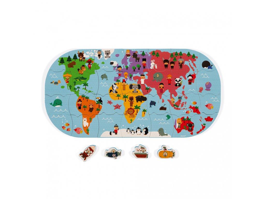 J04719 Janod hracka do vody puzzle mapa sveta 28 ks 01