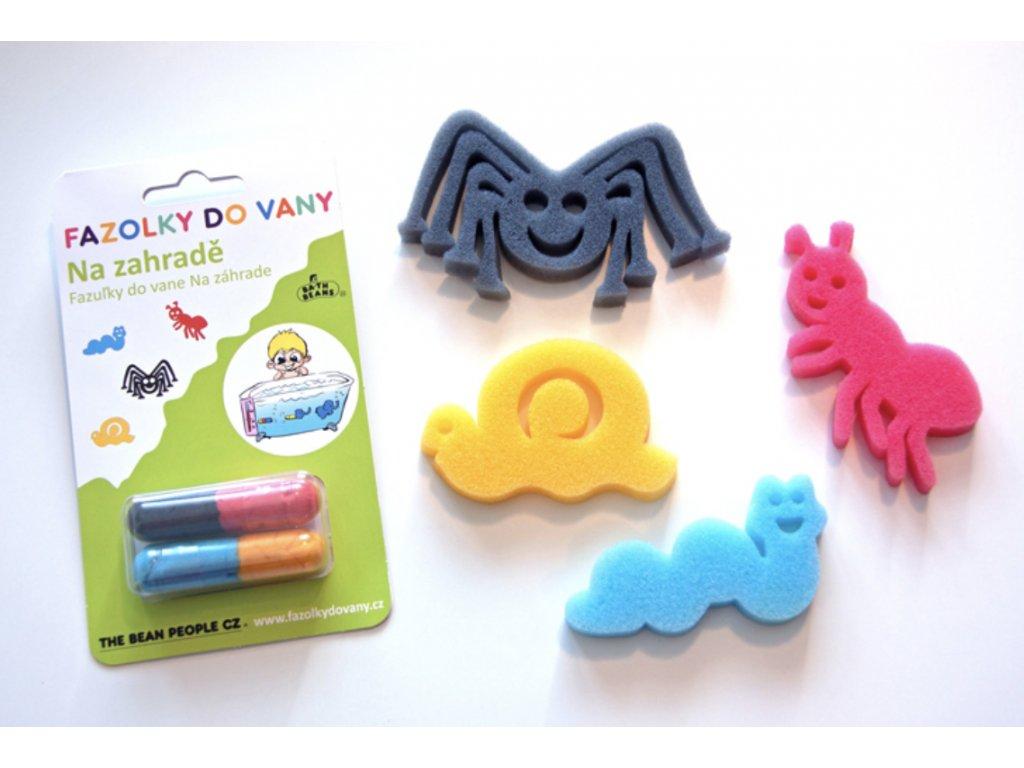Fazolky do vody se 4 hračkami z molitanu.