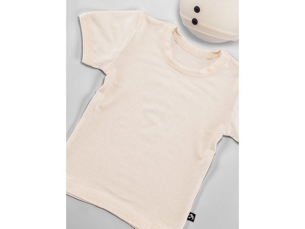 Tričko krátký rukáv smetanové BAMBUS