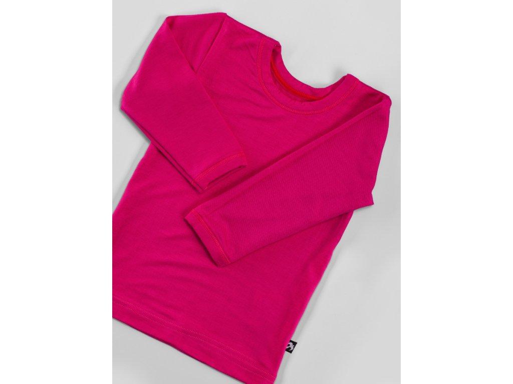 Tričko dlouhý rukáv růžové BAMBUS