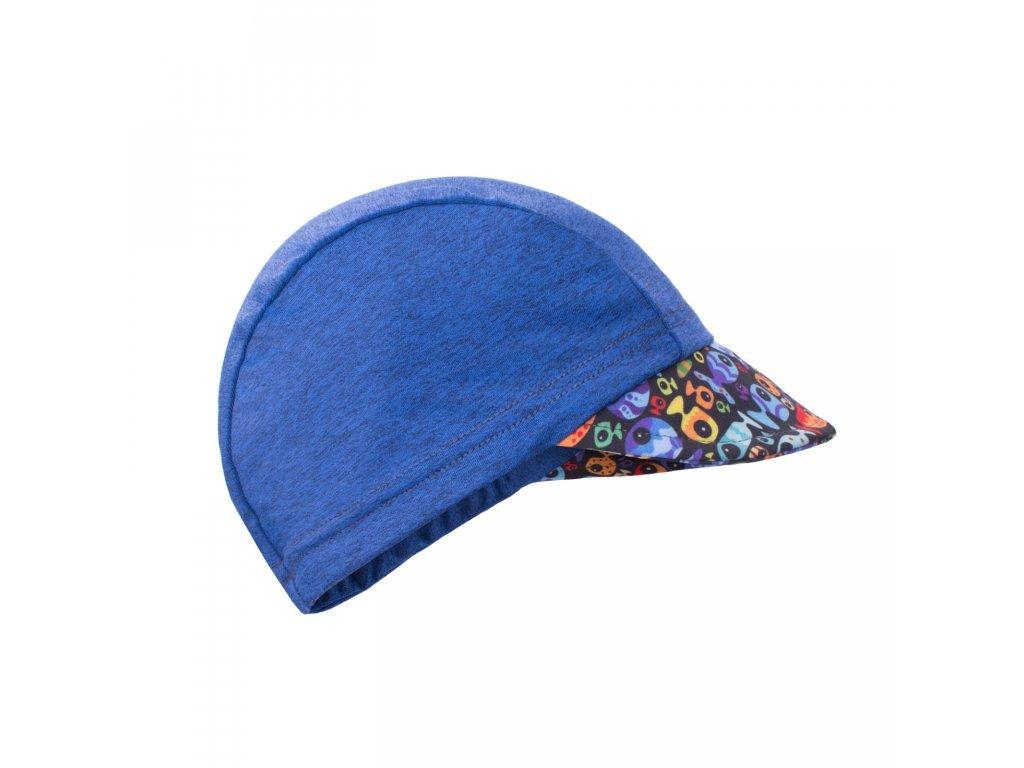 Funkční čepice s kšiltem UV 50+  RYBKY A RYBIČKY, TM. MODRÁ