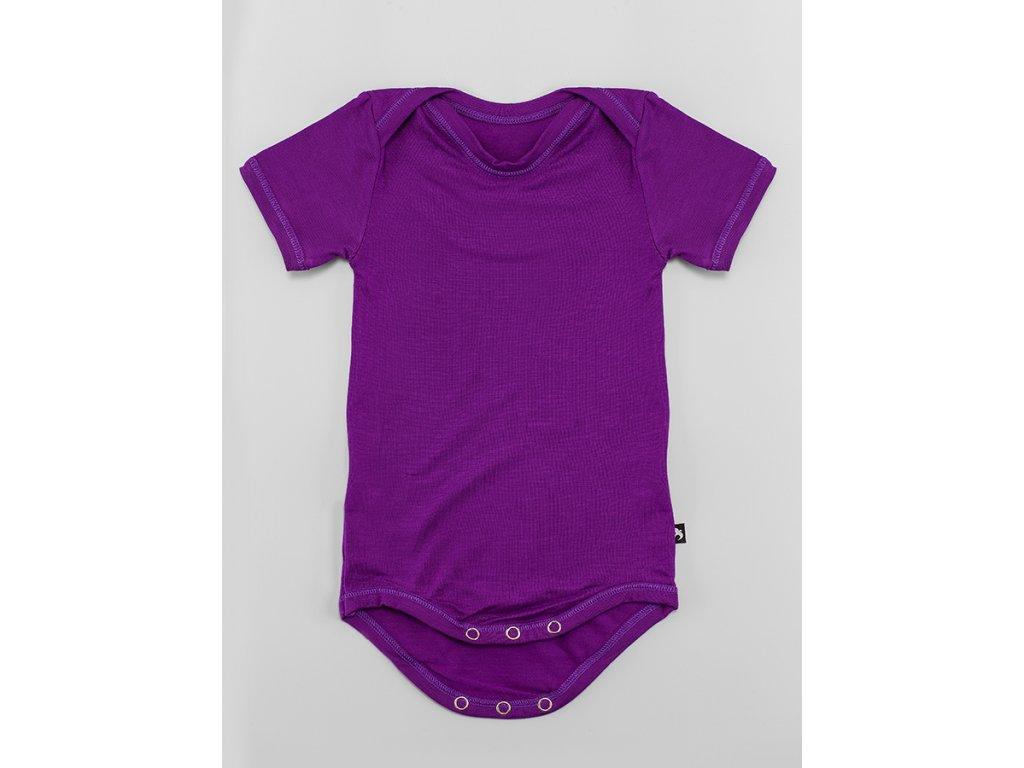Body krátký rukáv tmavě fialové BAMBUS