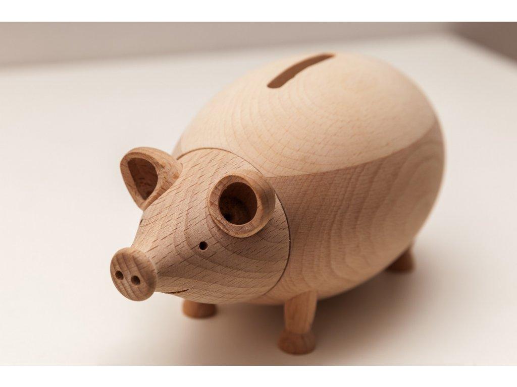 Dřevěná pokladnička Prasátko