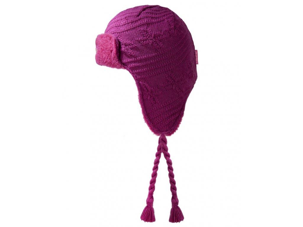 Dětská pletená čepice růžová