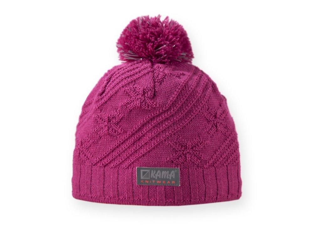 Dětská pletená čepice s reflexními prvky růžová