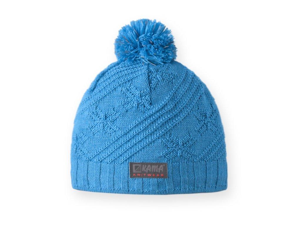 Dětská pletená čepice s reflexními prvky modrá