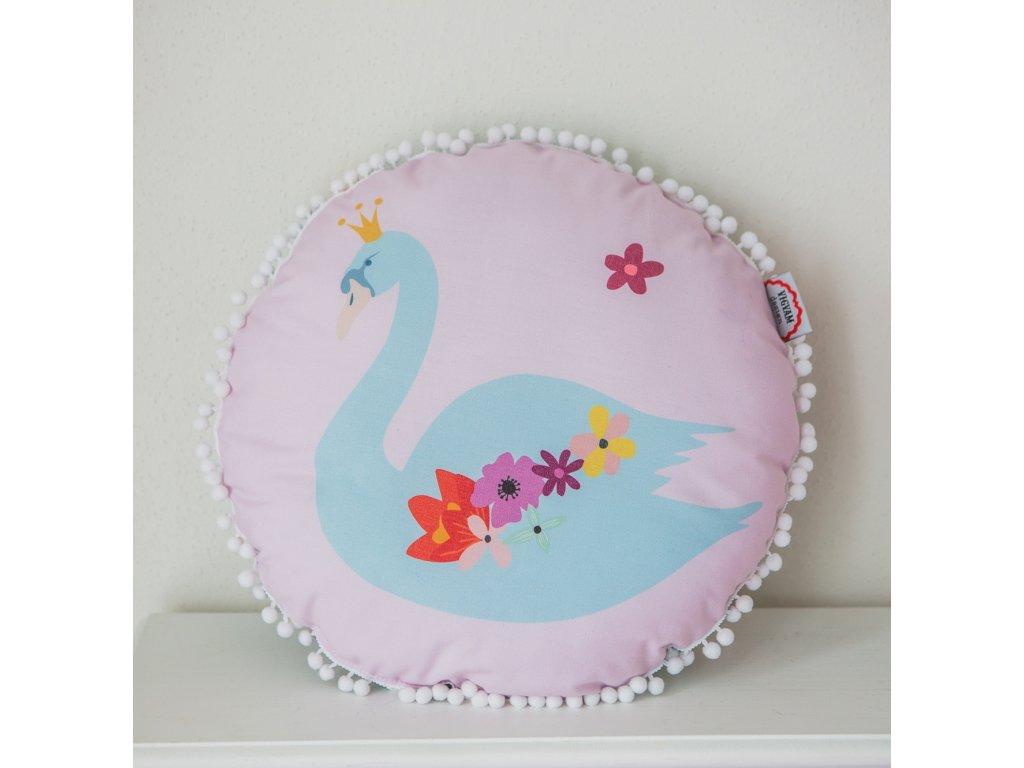 Kulatý polštář Bohemian chic Swan