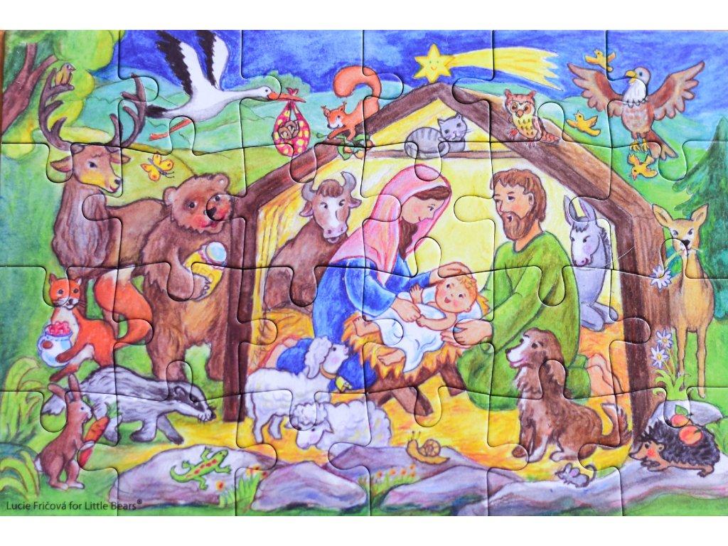 Puzzle adventní kalendář Betlém se zvířátky
