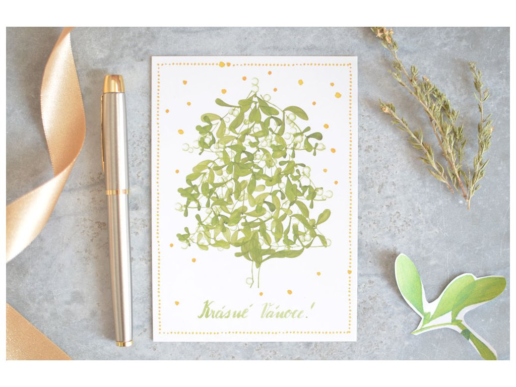 Vánoční pohlednice Stromeček ze jmelí