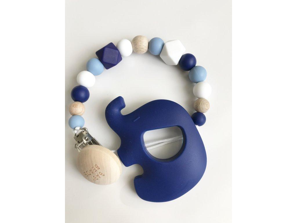 Klip na dudlík se silikonovým kousátkem BLUE Slon