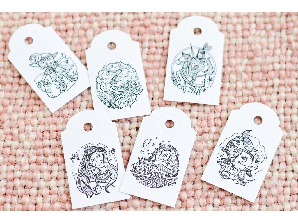Pohádkové cedulky na dárky - 6 ks