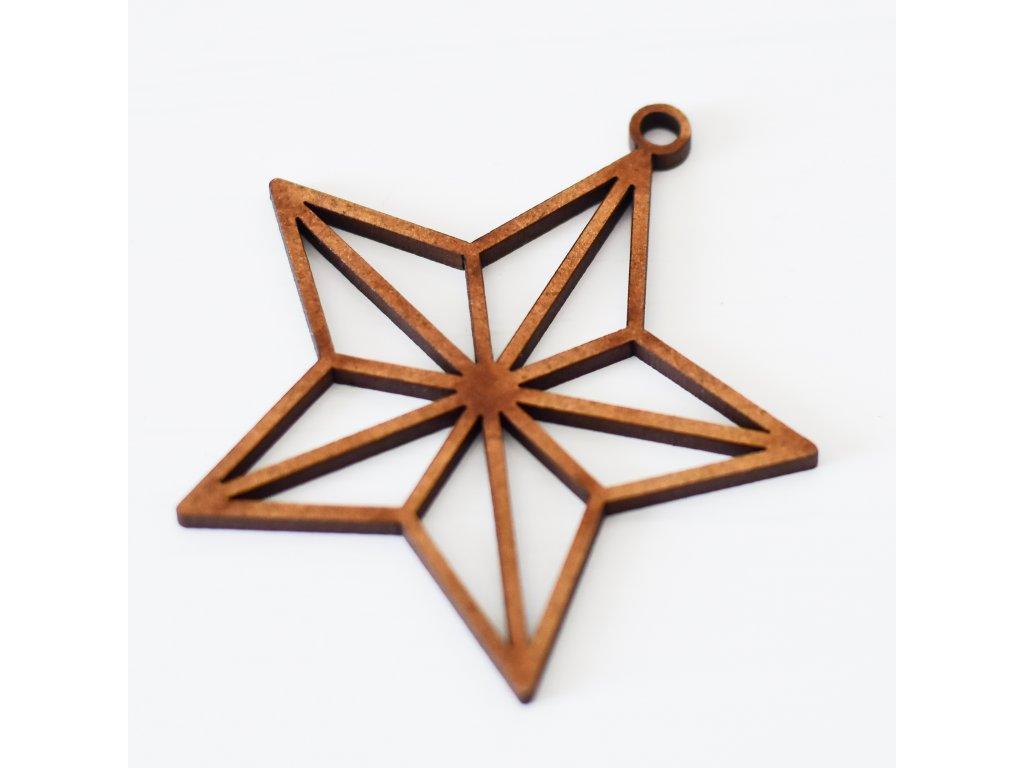 Dřevěný výřez - Origami hvězda