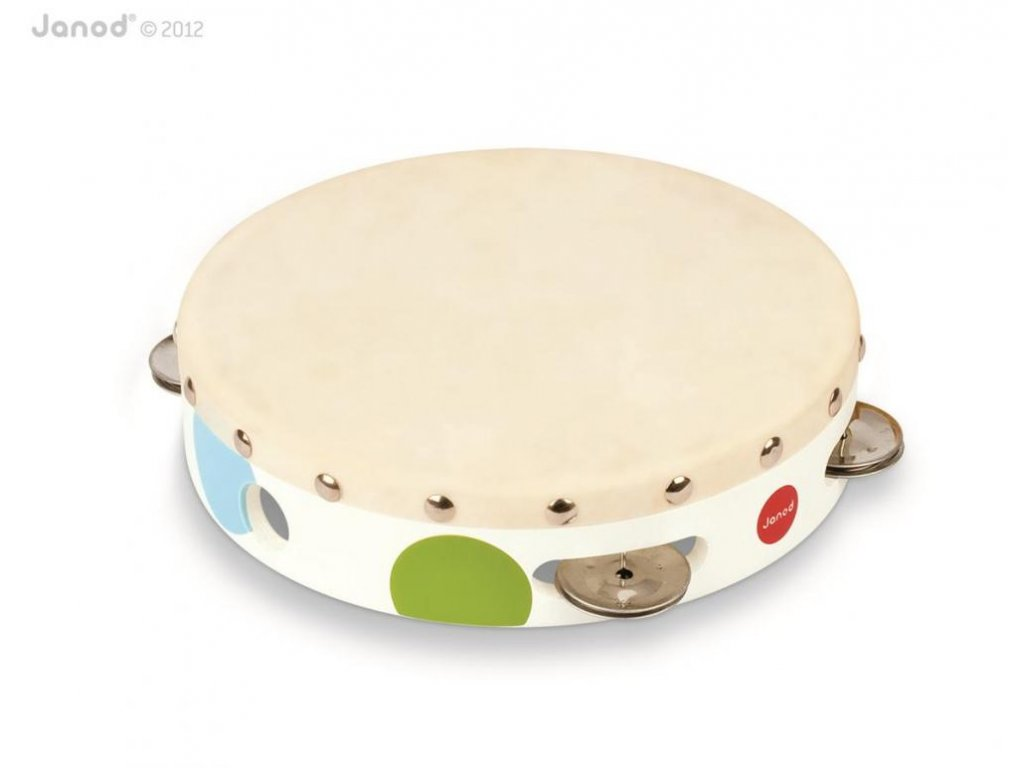 J07601 Drevena tamburina pre deti Confetti Janod s realnym zvukom a bubnom od 3 8 rokov a