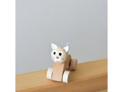 Dřevěné zvířátko do ruky - Kočička přírodní