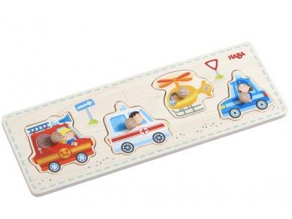 Dřevěné vkládací puzzle pro děti od 1 roku, rozvíjí jemnou motoriku.