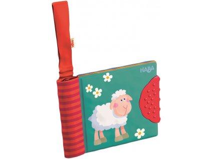 Textilní obrázková knížka pro děti od 6 měsíců, dá se jednoduše připevnit díky suchému zipu.