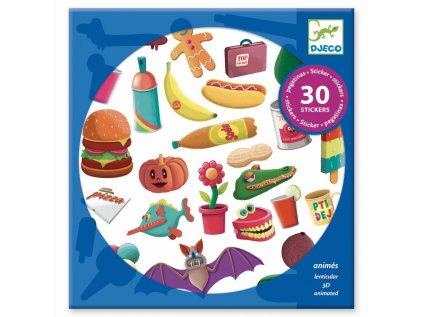 30 krásně barevných měnitelných samolepek pro děti.