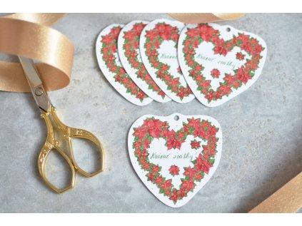 Vánoční dárkové cedulky Srdce z vánočních hvězdy