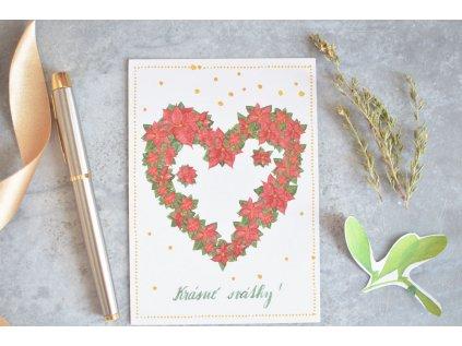 Vánoční pohlednice Srdce z vánoční hvězdy
