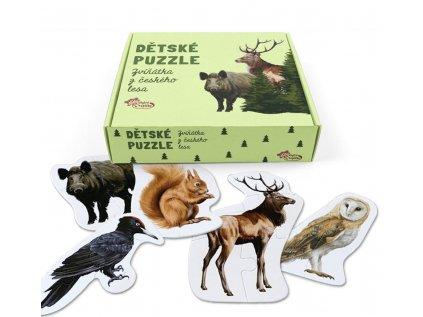 Autorské dětské puzzle s reálnými obrázky zvířátek -26 dílů, ze kterých se sestaví 5 zvířátek.