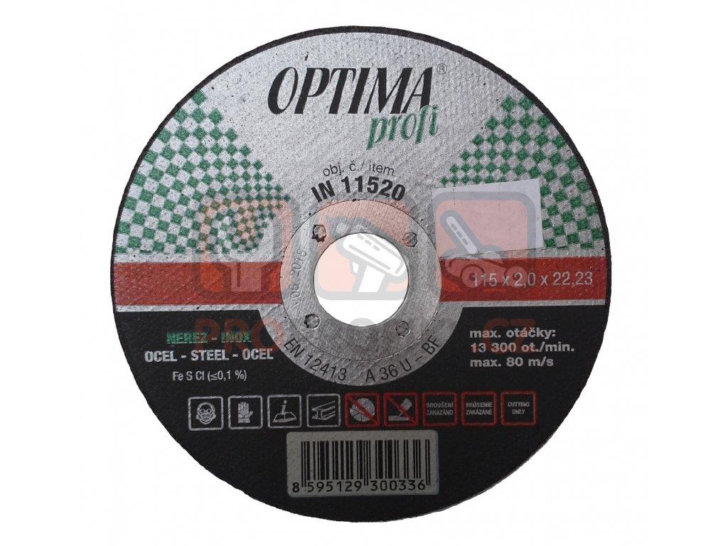 Řezný kotouč OPTIMA Profi 115x2 na ocel a nerez