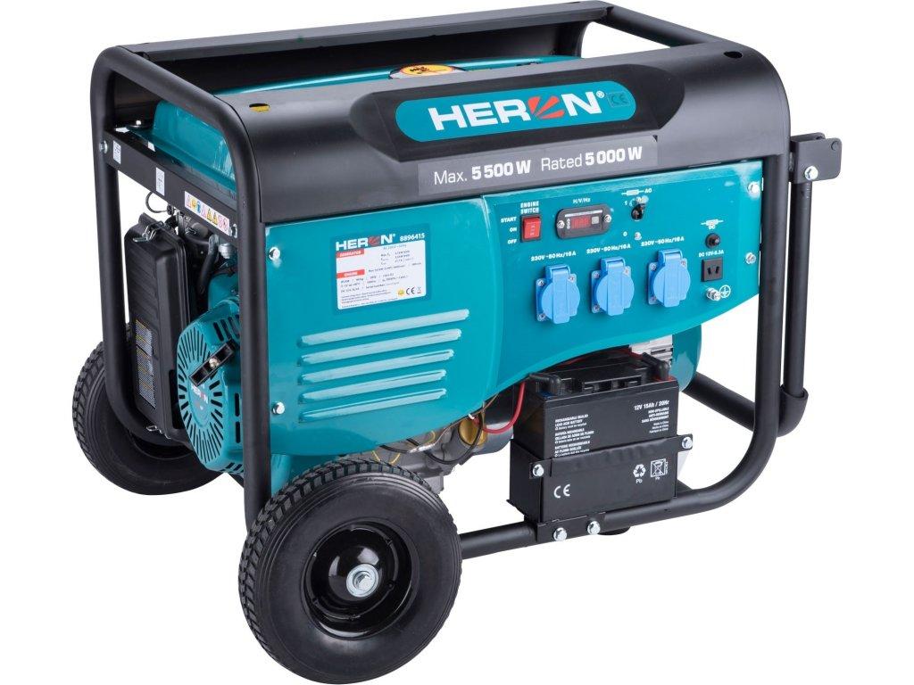 Elektrocentrála HERON benzínová 5,5kW/13HP, pro svařování, elektrický start, podvozek